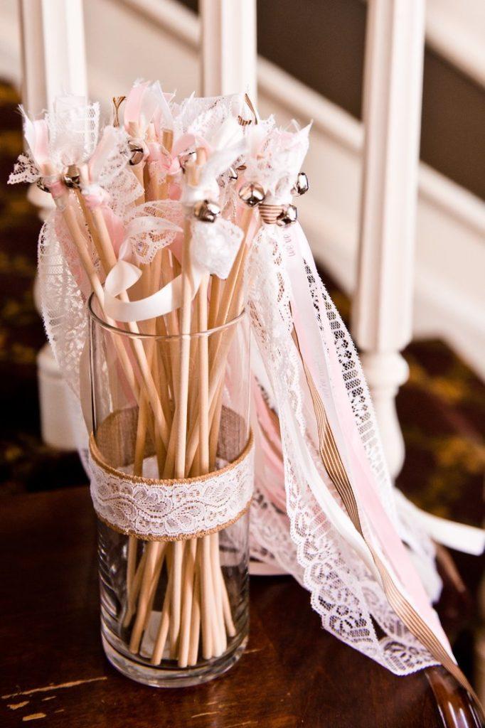 Lace ribbon wands