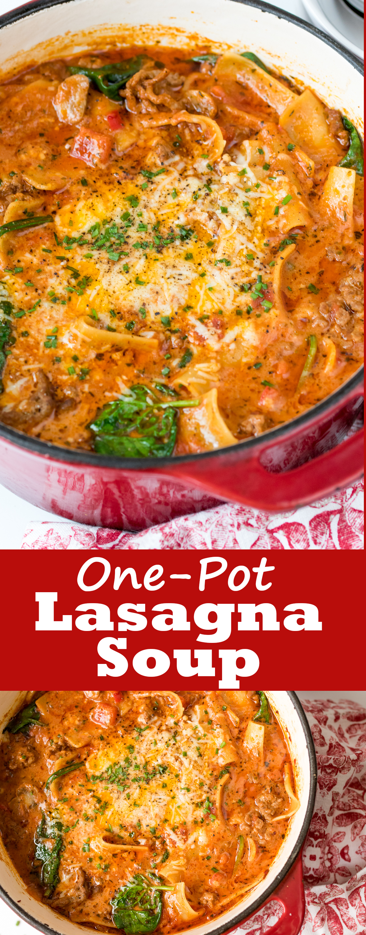 A simple, delicious soup with all the taste of lasagna - but using only one pot!