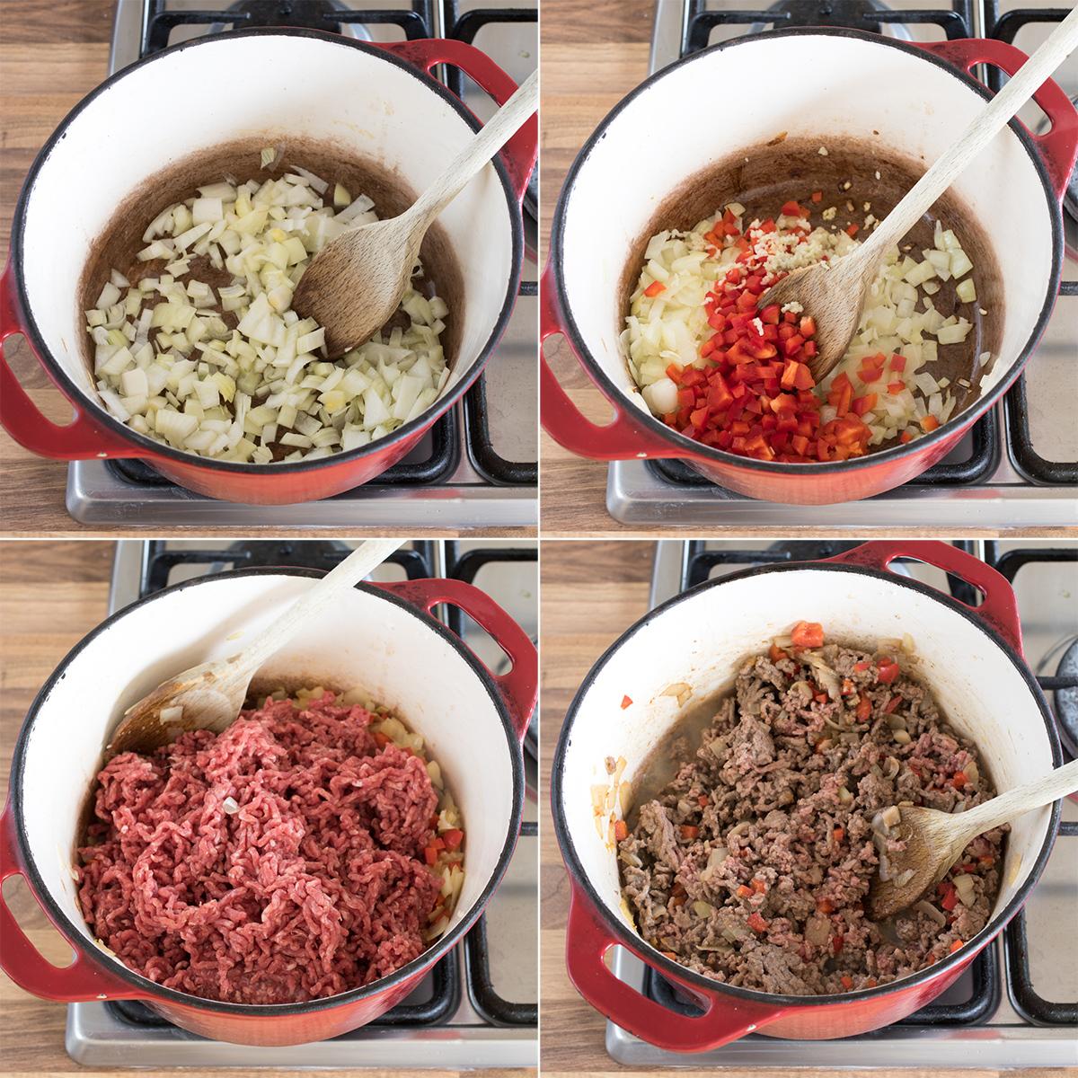 Lasagna soup step 1 collage