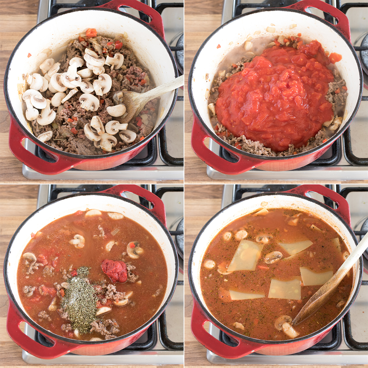 Lasagna soup step 2 collage