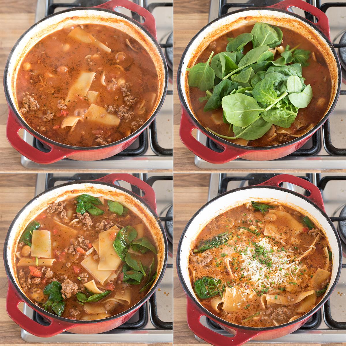 Lasagna soup step 3 collage