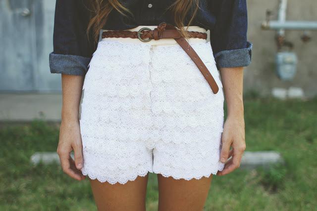Layered lace shorts