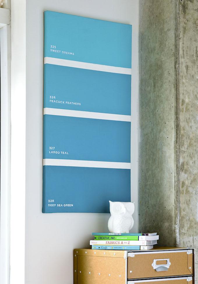 Make a decorative paint chip canvas