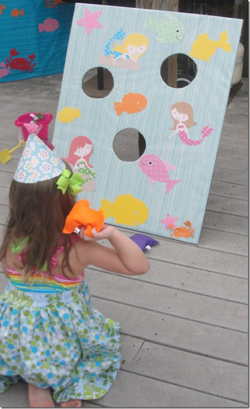 Mermaid bean bag toss game