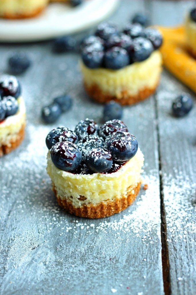 Miniature lemon blueberry cheesecake