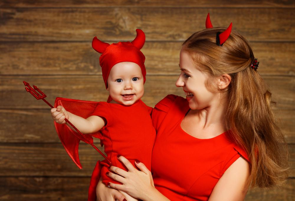 Mom and baby halloween costumes adorable devil pair