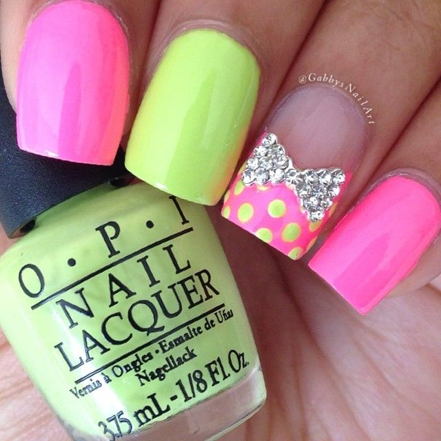Neon, bows, and rhinestones
