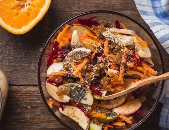 Nuts seeds and fruit dessert salad