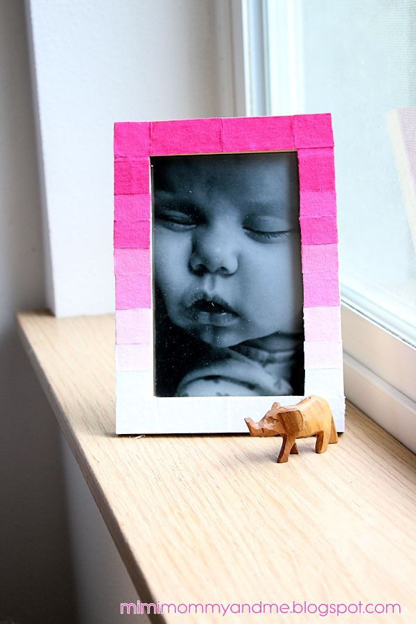 Ombre pink ikea picture frame craft 09