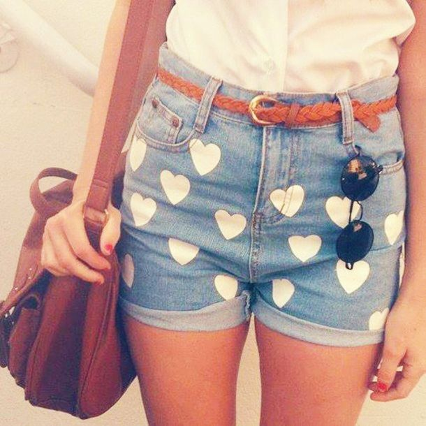 Painted heart shorts