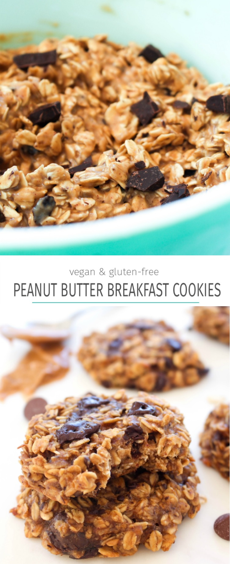 Peanut butter banana breakfast cookies collage