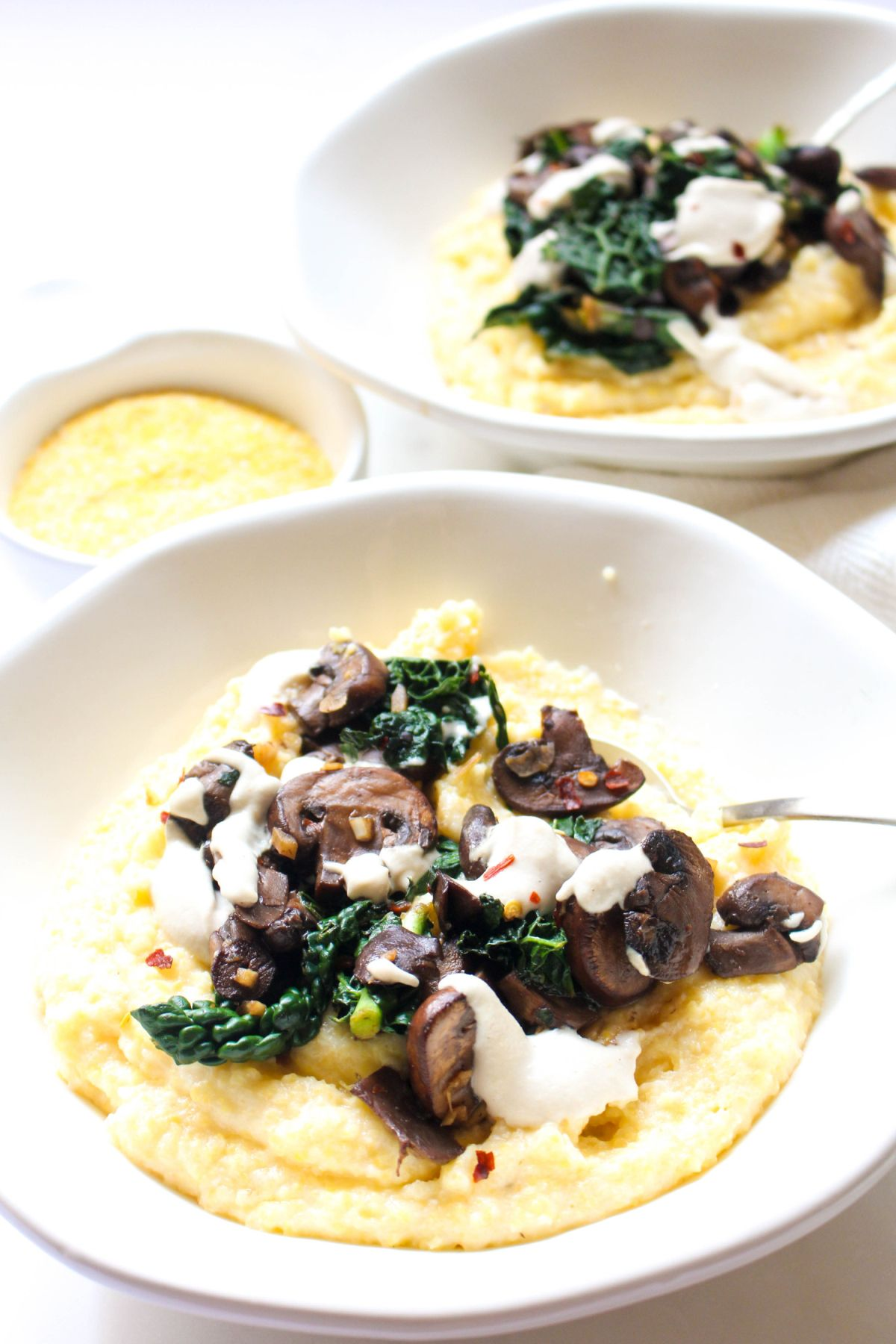 Polenta with mushroom ragout and dairy free cream sauce recipe