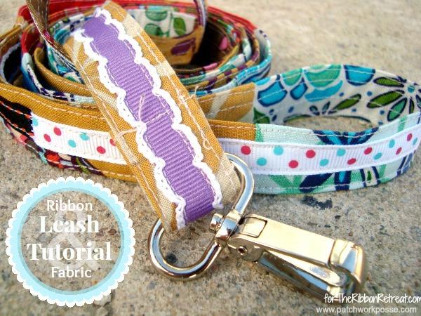 Scrap ribbon dog leash