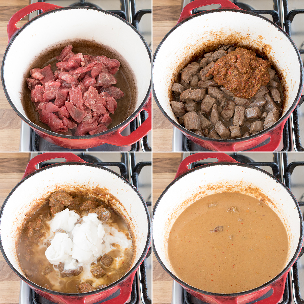 Slow cooked thai beef curry step3 collage