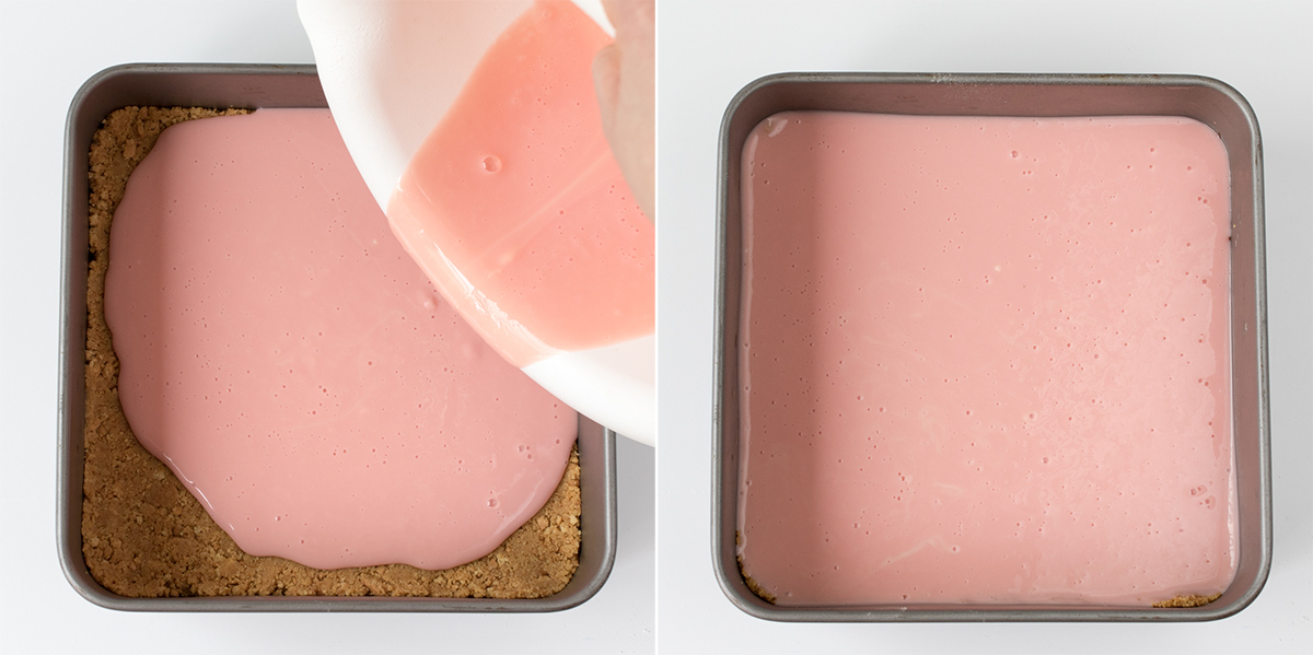 Strawberry mousse bars step 3 collage