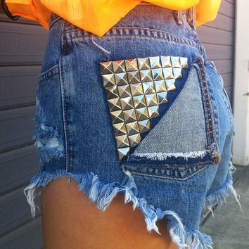 Studded pocket shorts