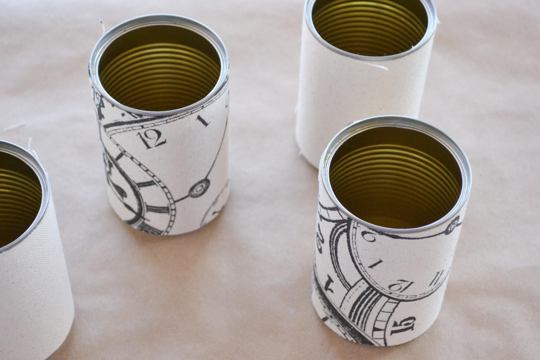Tin cans with burlap