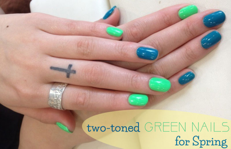Two toned green nails