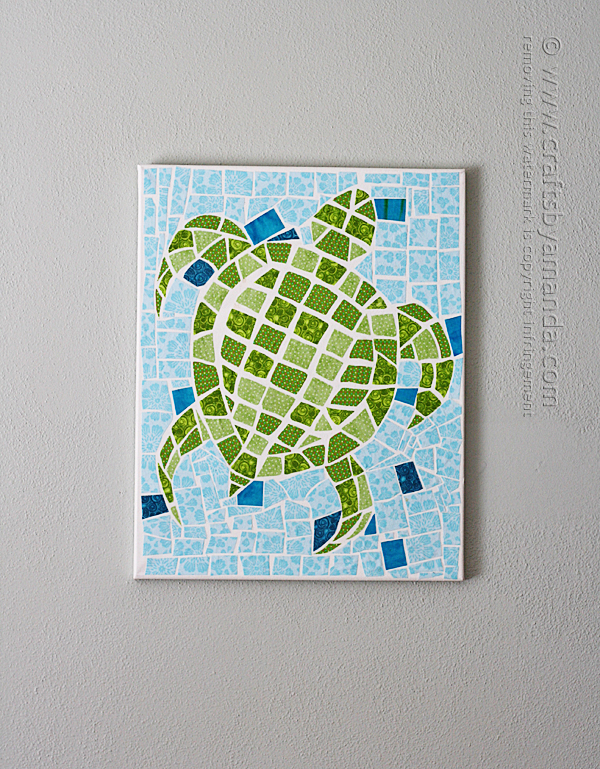 Fabric mosaic turtle on canvas 2