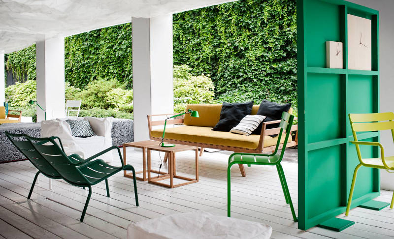 Green Wall Wood Room Divider