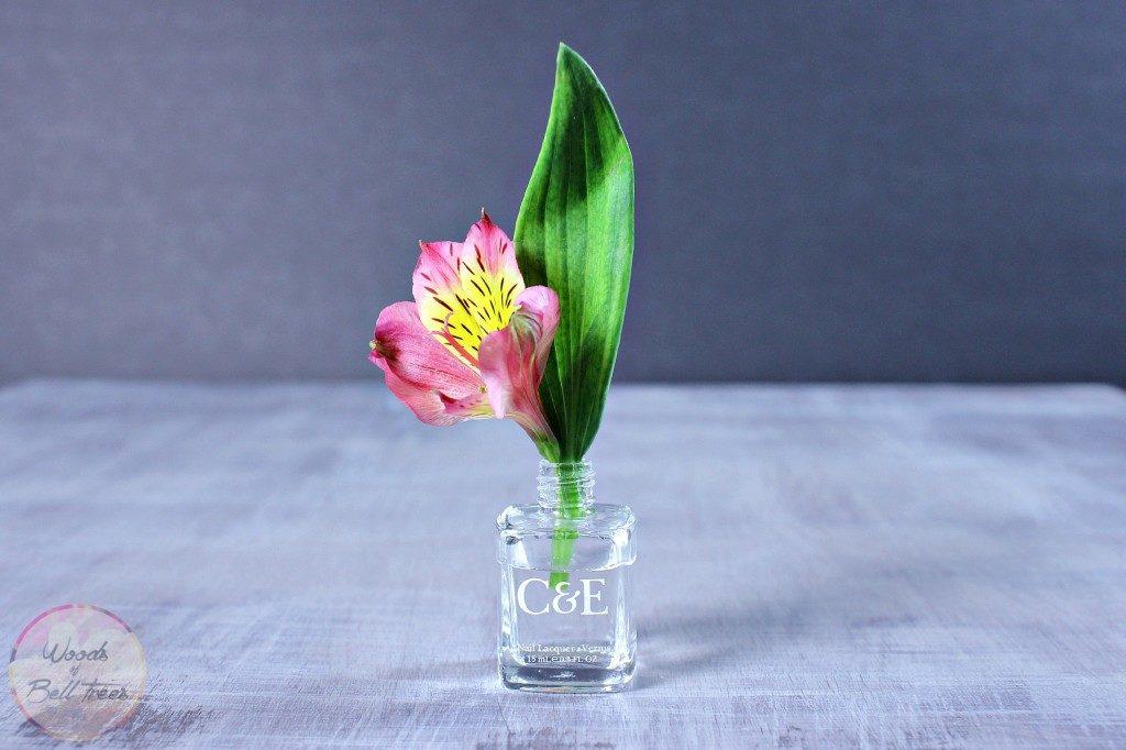 Nail polish flower vase