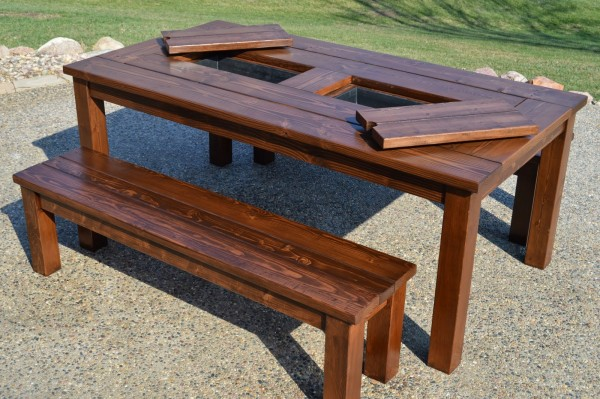 Patio Table Witih Built In Drink Coolers Kruses Workshop On Remodelaholic  600x399