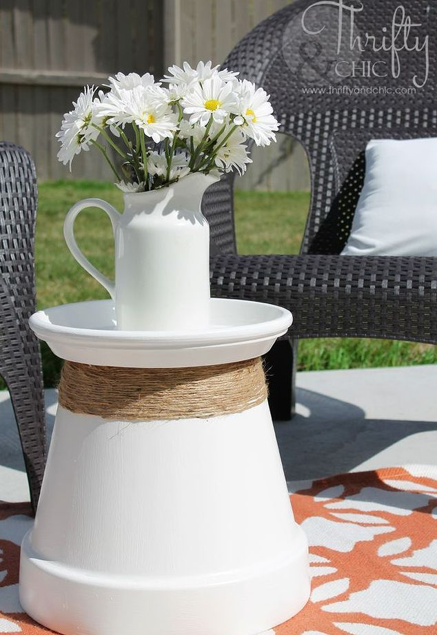 Repurposed terracotta pot into accent table home decor outdoor furniture outdoor living 1