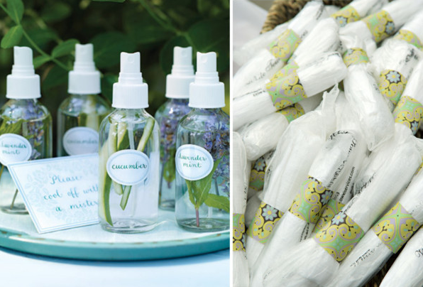 Wet towels and lavender spray for wedding