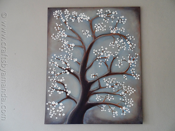 White blossom tree diy art