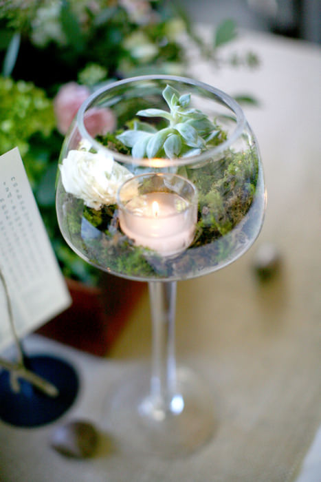 Wine glass terrarium