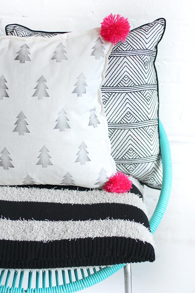 21 printed pom pom pillow