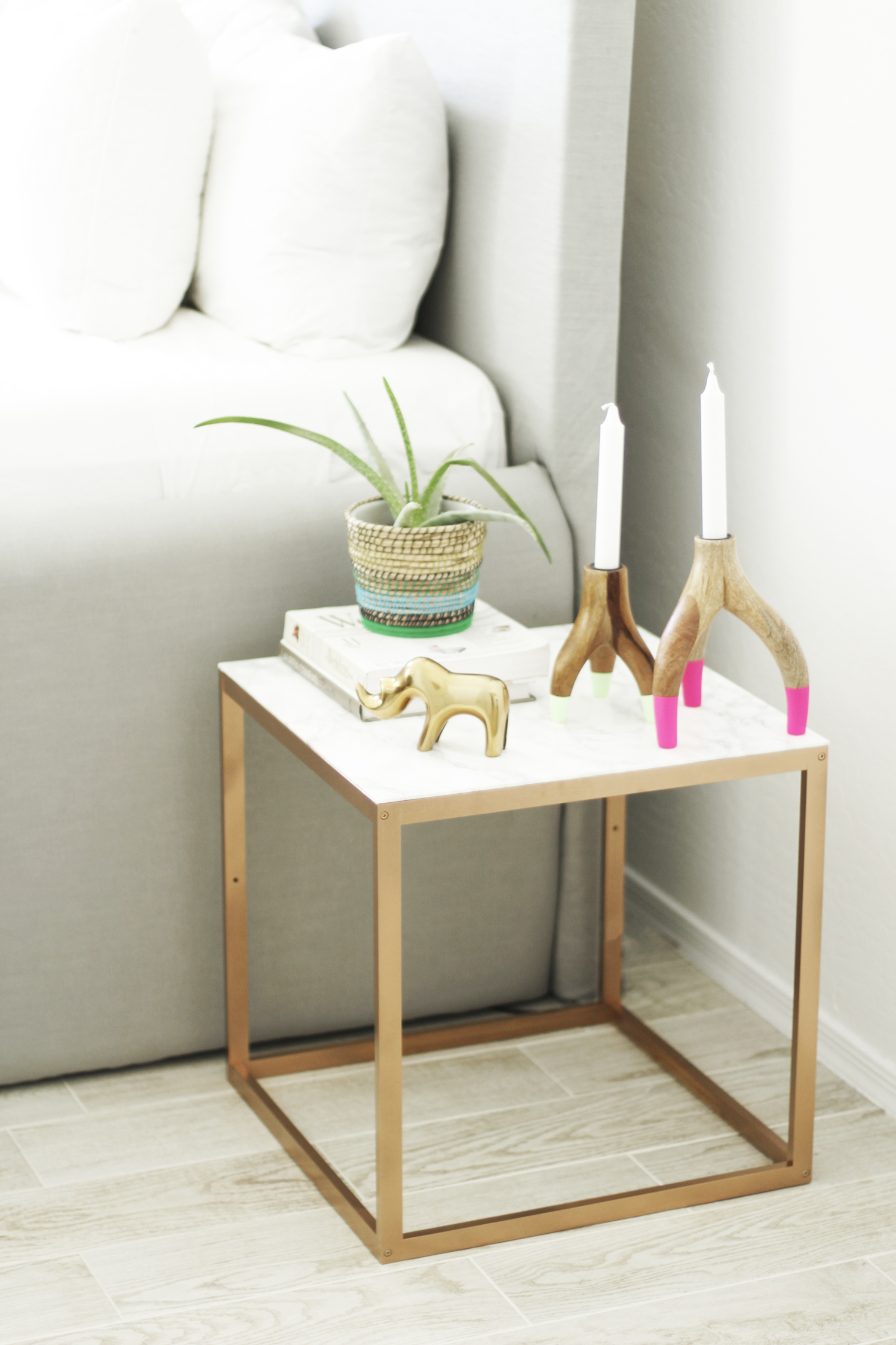 Marble And Copper End Table 3 Ikea Hack Nightstand