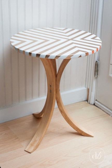 44 gold stripe side table
