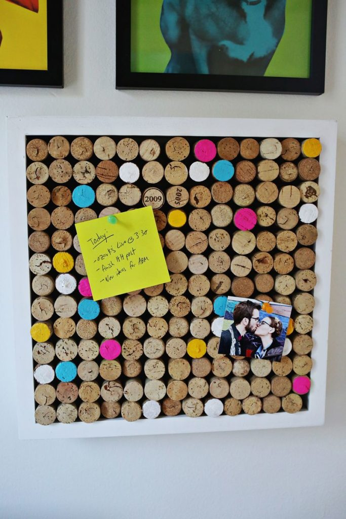 A cork board made of corks