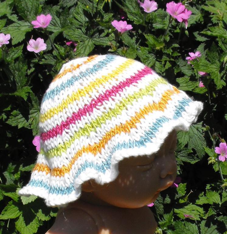 Baby stripey sun hat by madmonkeyknits