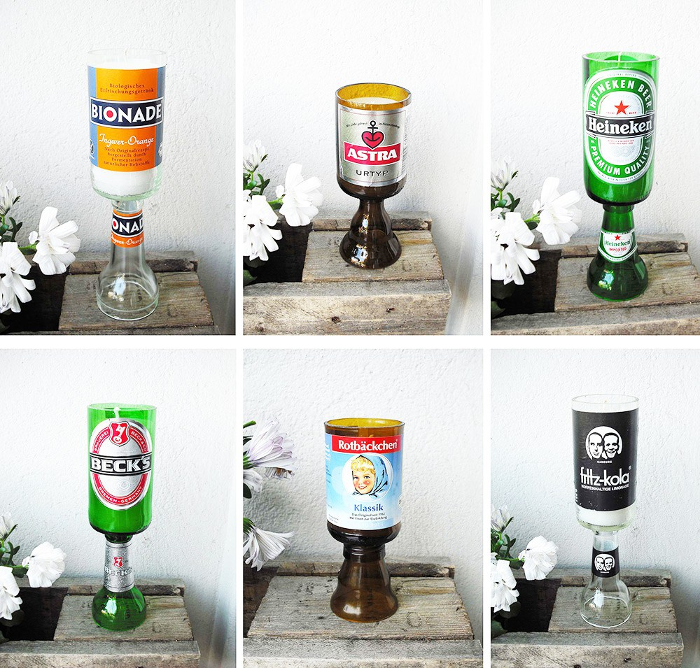 Beer bottle candle holders