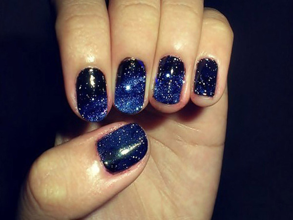 Black blue and glitter