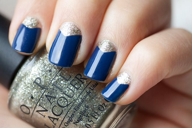 Blue with glitter nail beds