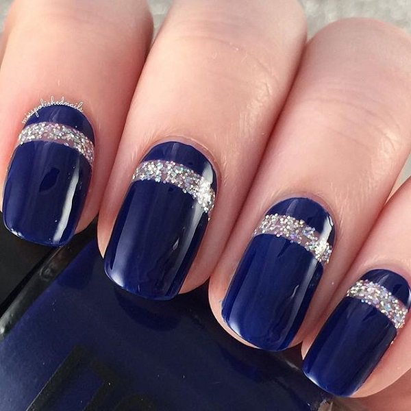 Blue with silver glitter stripes