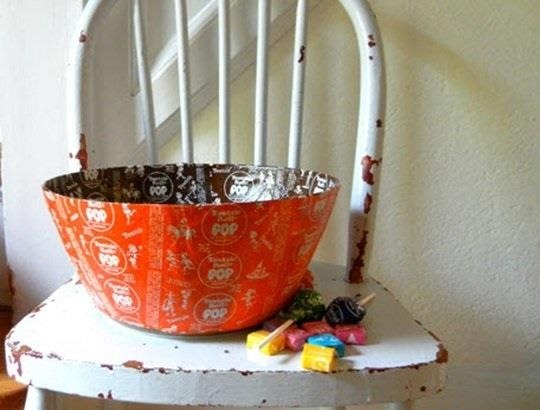 Candy wrapper bowl
