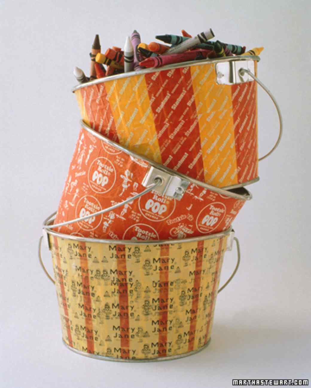 Candy wrapper buckets