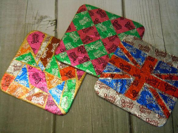 Candy wrapper coasters