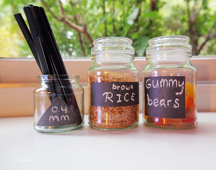 Chalkboard message glass jars