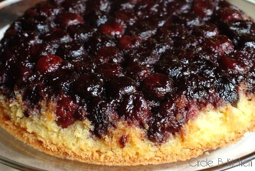 Cherry cornmeal upside down cake
