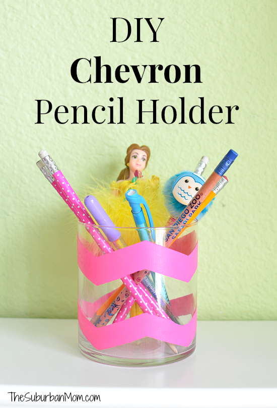 Chevron painted pencil holders