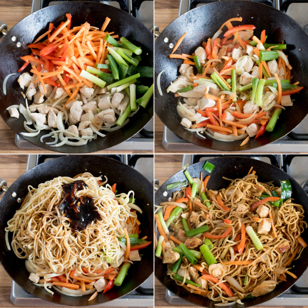 Chicken chow mein step3 collage