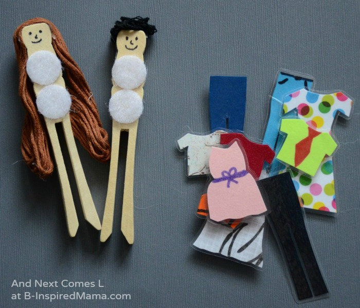 Clothes peg dress up dolls