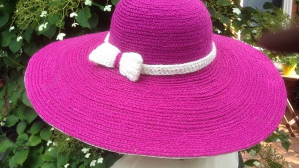 Colourful corcheted sun hat