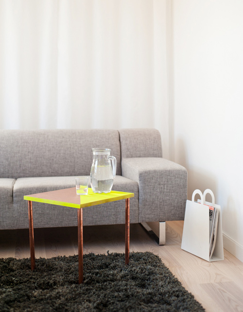 Copper tubing side table
