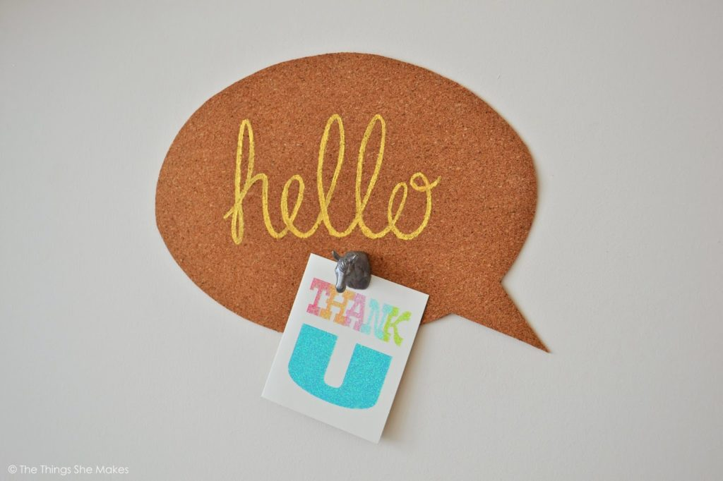 Cork board speech bubble